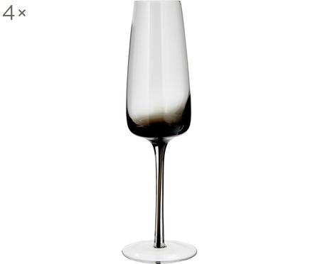 Copas flauta de champán de vidrio soplado Smoke, 4uds.