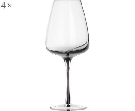 Copas de vino de vidrio soplado artesanalmente Smoke, 4uds.