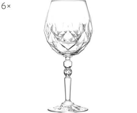 Copas de vino tinto de cristal con relieve Calicia, 6uds.