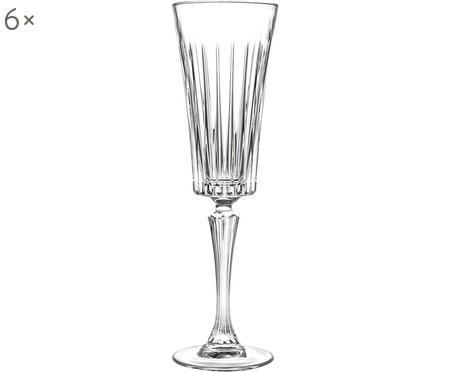 Copas flauta de champán de cristal con relieve Timeless, 6uds.