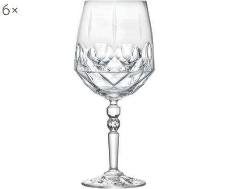 Copas de vino blanco de cristal con relieve Calicia, 6uds.
