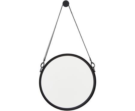 Espejo de pared redondo Liz, con correa de cuero