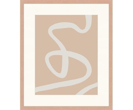 Impresión digital enmarcada Abstract Beige Drawing