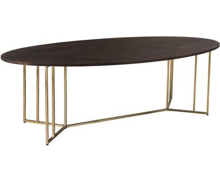 Mesa de comedor ovalada de madera maciza Luca