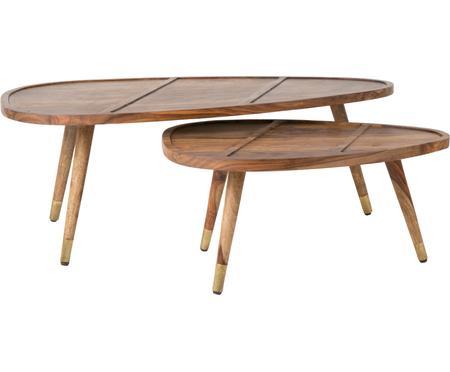 Set de mesas de centro de madera maciza Sham, 2uds.