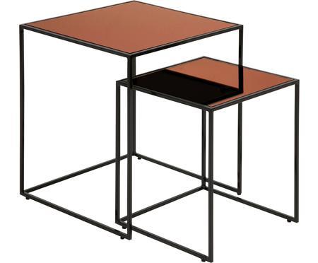 Set de mesas auxiliares Bolton, 2uds., tablero de cristal