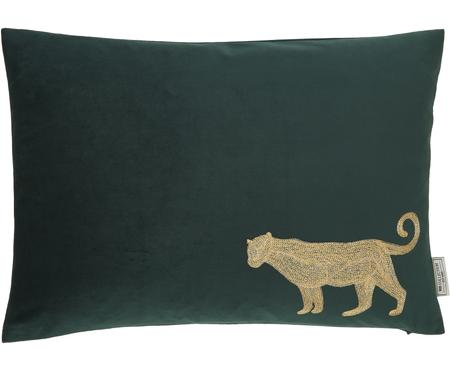 Cojín bordado de terciopeloSingle Leopard, con relleno